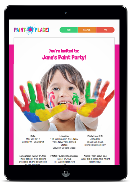 branded electronic invitations for birthday party businesses yay list